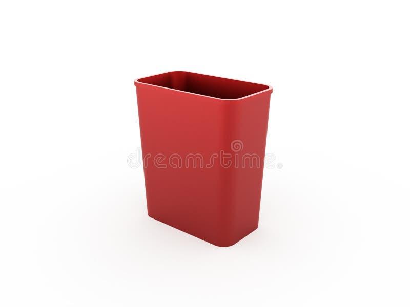 Röd soptunna som isoleras på vit stock illustrationer