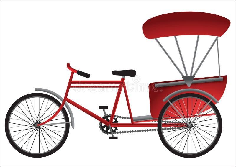 Röd South East Asia trehjuling med passagerareräkningen stock illustrationer