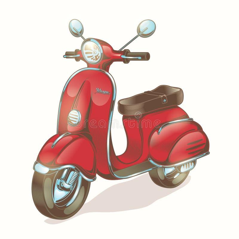 Röd sparkcykel för vektorfärgillustration som vara nedstämd royaltyfri illustrationer