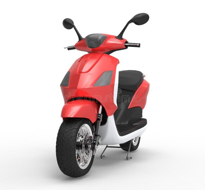 Röd sparkcykel royaltyfri illustrationer