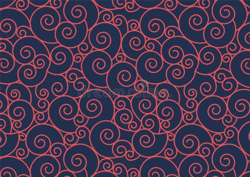 Röd spiral modell på blå bakgrund stock illustrationer