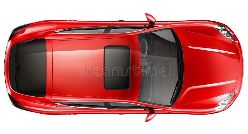 Röd sportbil - bästa sikt royaltyfri illustrationer