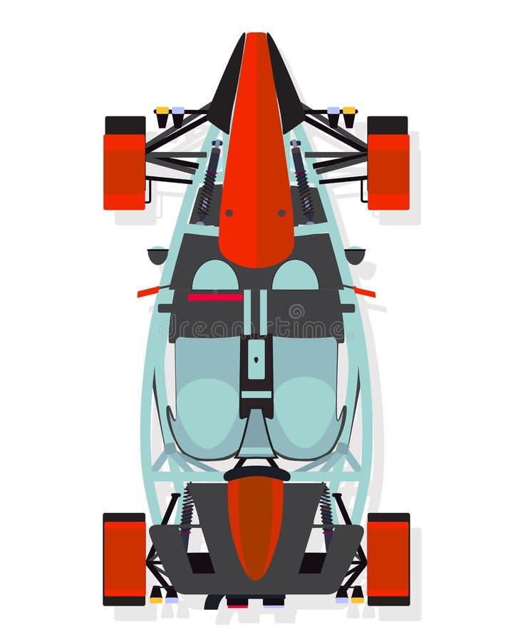 Röd sportbil, bästa sikt för barnvagn i plan stil på en vit bakgrund royaltyfri illustrationer