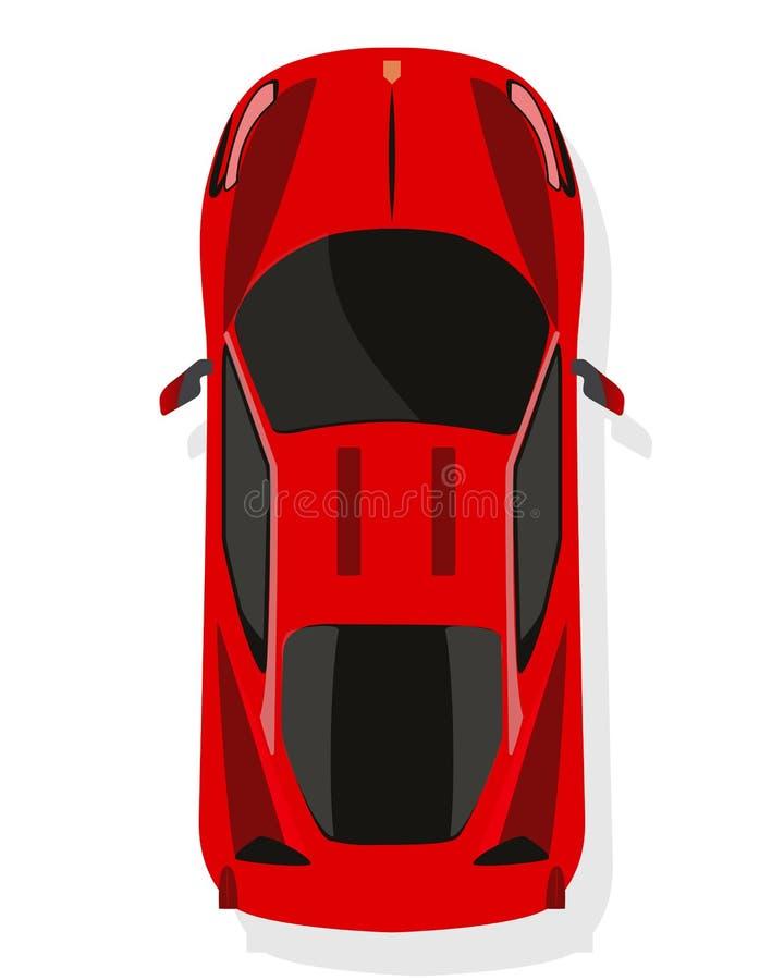 Röd sportbil, bästa sikt i plan stil på en vit bakgrund stock illustrationer