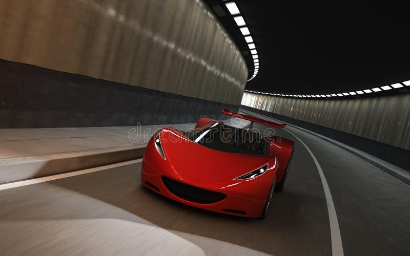 Röd sportbil i tunnel arkivbild