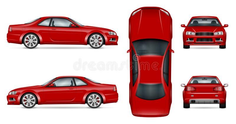 Röd sportbilvektorillustration royaltyfri illustrationer
