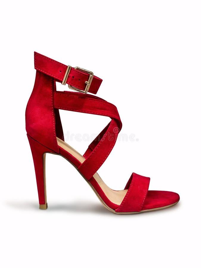 Röd stämd sko för hög häl royaltyfria foton