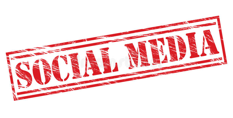 Röd stämpel för socialt massmedia stock illustrationer