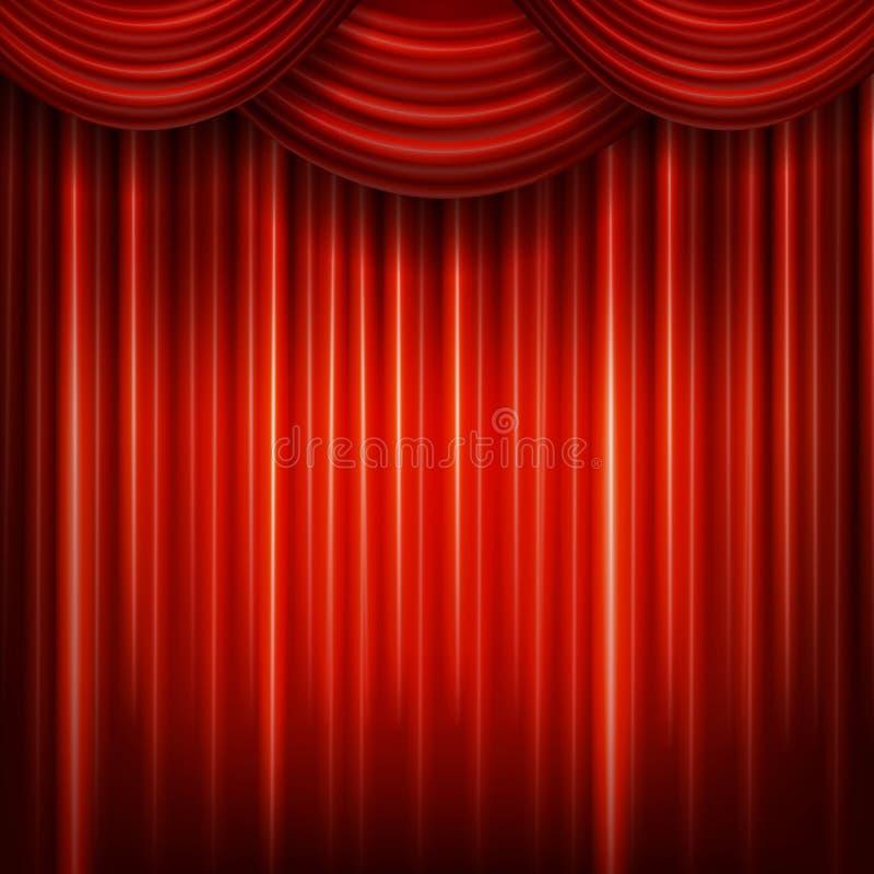 Röd stängd gardin med ljusa fläckar i en teater royaltyfri illustrationer