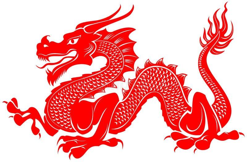 Röd stam- illustration för draketatueringvektor royaltyfri illustrationer