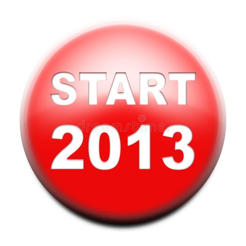 röd starttext för 2013 knapp vektor illustrationer
