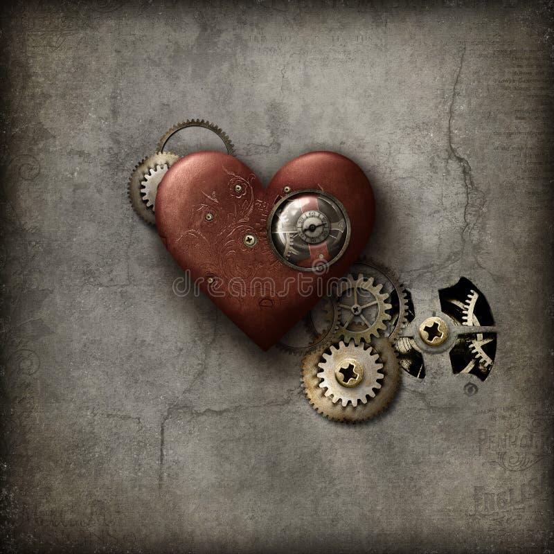 Röd Steampunk hjärta vektor illustrationer