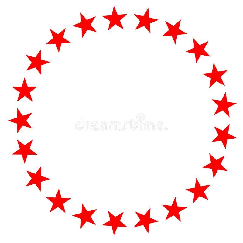 Röd stjärna i cirkelsymbol på vit bakgrund Plan stil röd stjärna i cirkelsymbolen för din webbplatsdesign, logo, app, UI Uppsättn stock illustrationer