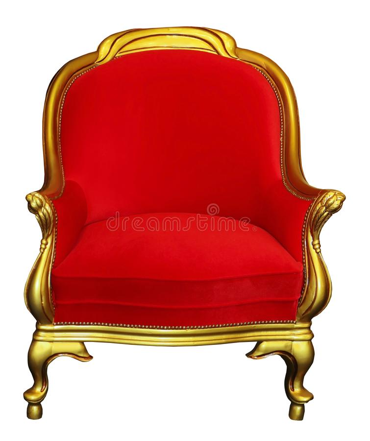 Röd stol för tappning som isoleras på vit royaltyfri bild