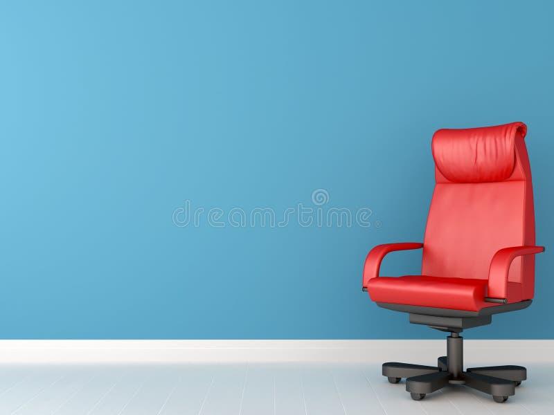 Röd stol mot blåttväggen royaltyfri illustrationer