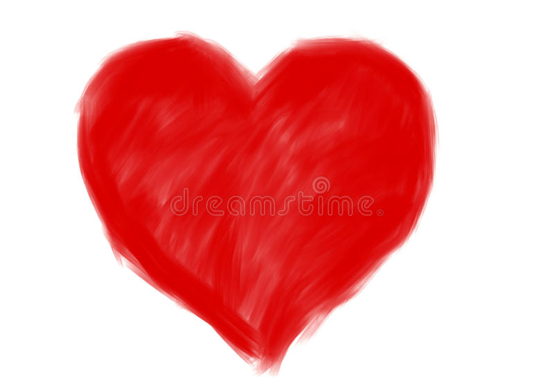 Röd stor hjärtaform Teckning royaltyfri bild