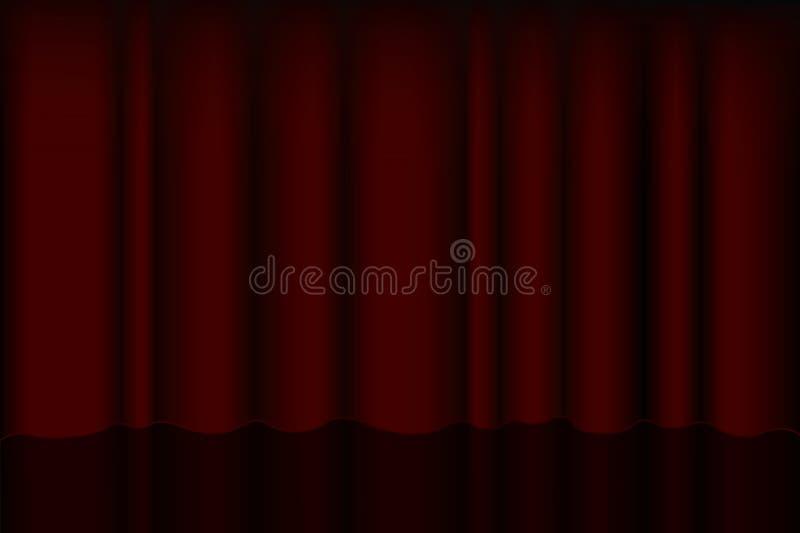 Röd strålkastare på etappgardinen för utställningar och scenisk inre premiärskärm med gardiner och platser vektor vektor illustrationer