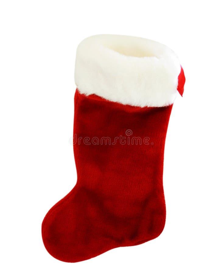 röd strumpawhite för jul royaltyfria bilder