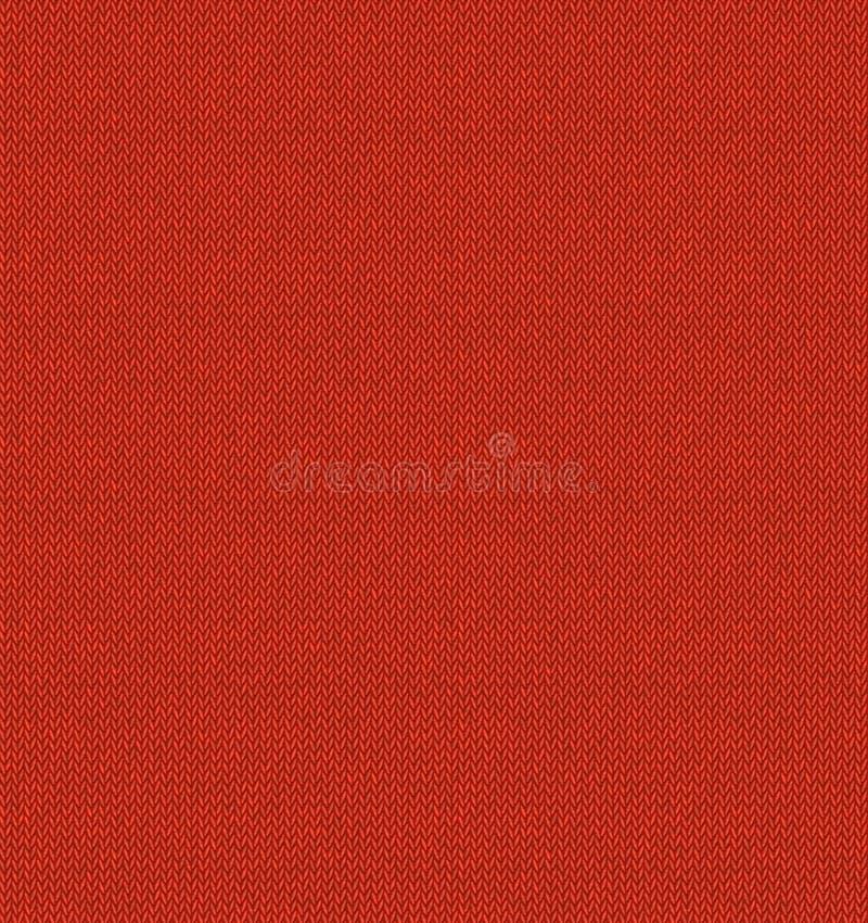 Röd stucken sömlös bakgrund för tygtextur Realistisk rät maskavektormodell Illustration för vintertröjajul nytt år royaltyfri illustrationer