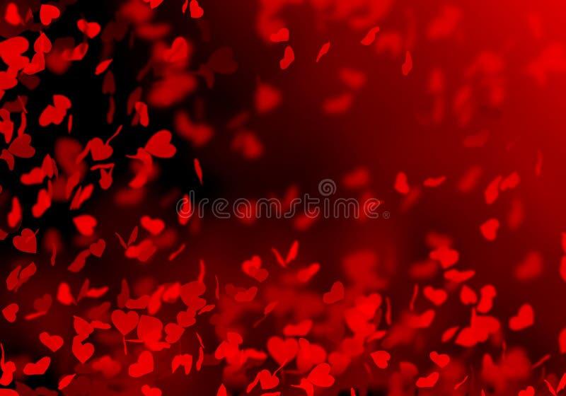 Röd suddig bokehbakgrund, ljust som är svart, hjärtor, ferie, bröllop, vänner, romans, fallande hjärtor, kronblad av hjärtor, vektor illustrationer