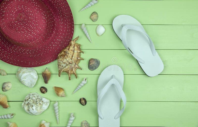 Röd sugrörhatt med vita sandaler och många havsskal på träb royaltyfri foto