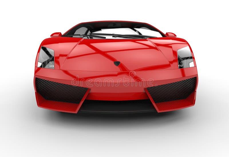Röd Supercar - Front View fotografering för bildbyråer