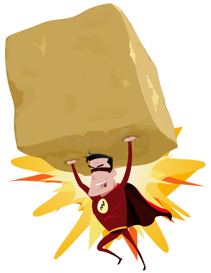 Röd Superhero som lyfter den tunga stora rocken
