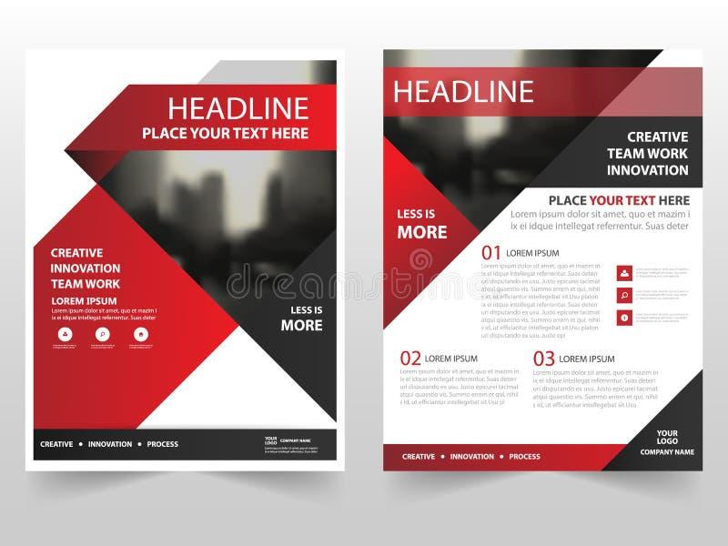 Röd svart design för mall för årsrapport för reklamblad för broschyr för triangelaffärsbroschyr, bokomslagorienteringsdesign royaltyfri illustrationer