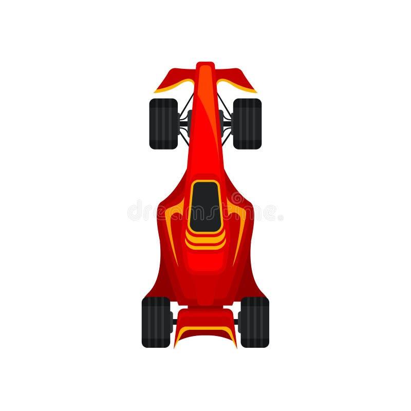 Röd tävlings- bil som rusar motorn som springer illustrationen för vektor för bästa sikt för bolid royaltyfri illustrationer