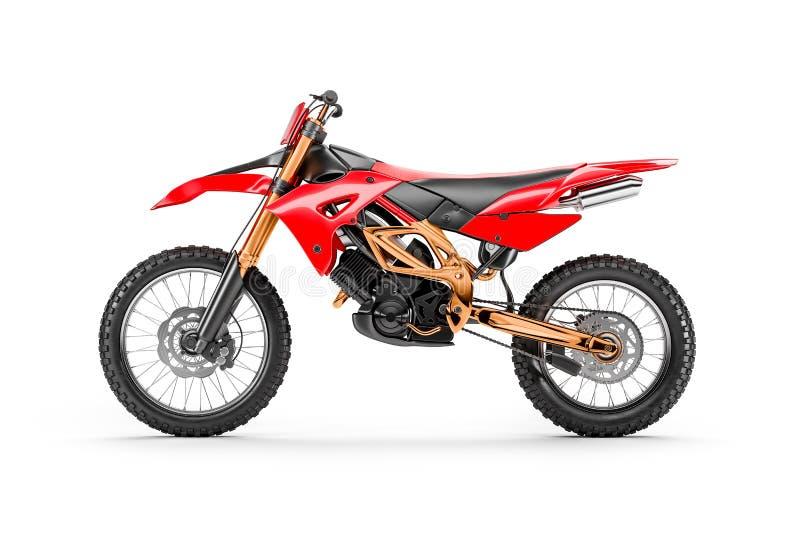 Röd tävlings- motorcykel för motocross vid sidosikt vektor illustrationer