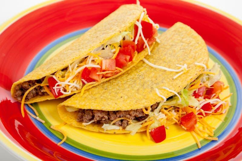 röd tacos två för platta royaltyfri bild