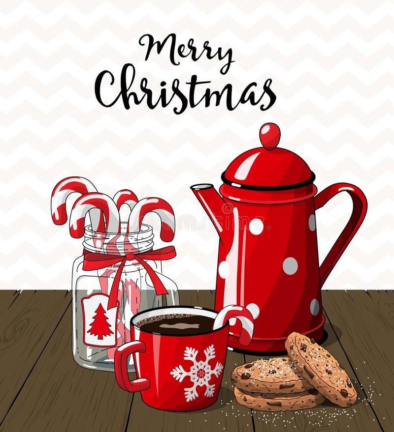 Röd tappningkaffekruka med koppen kaffe konserverar den glass jaren spillda tabellen stock illustrationer