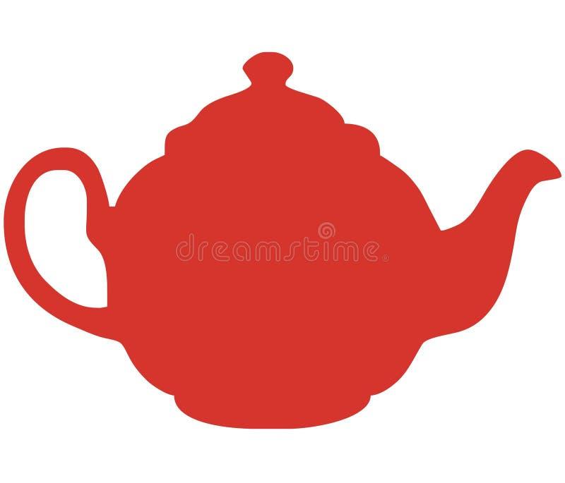 Röd Teapotvektor För Illustration Royaltyfria Bilder