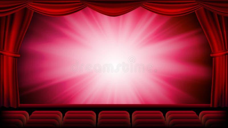 Röd teatergardinvektor Röd bakgrund Stängd plats för teater, för opera eller för bio Baner plakat, affischmall stock illustrationer
