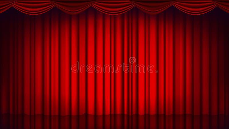 Röd teatergardinvektor Tom siden- etapp för teater, för opera eller för bio, röd plats realistisk ballonsillustration vektor illustrationer