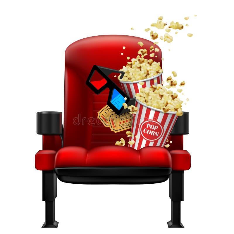 Röd teaterstol, popcorn, exponeringsglas och biljetter vektor 3d Hög detaljerad realistisk illustration royaltyfri illustrationer