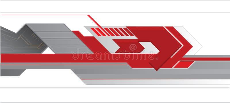 Röd techabstrakt begreppbakgrund royaltyfri illustrationer