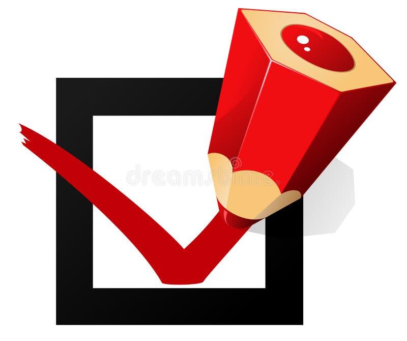 röd teckenvektor för ok blyertspenna stock illustrationer
