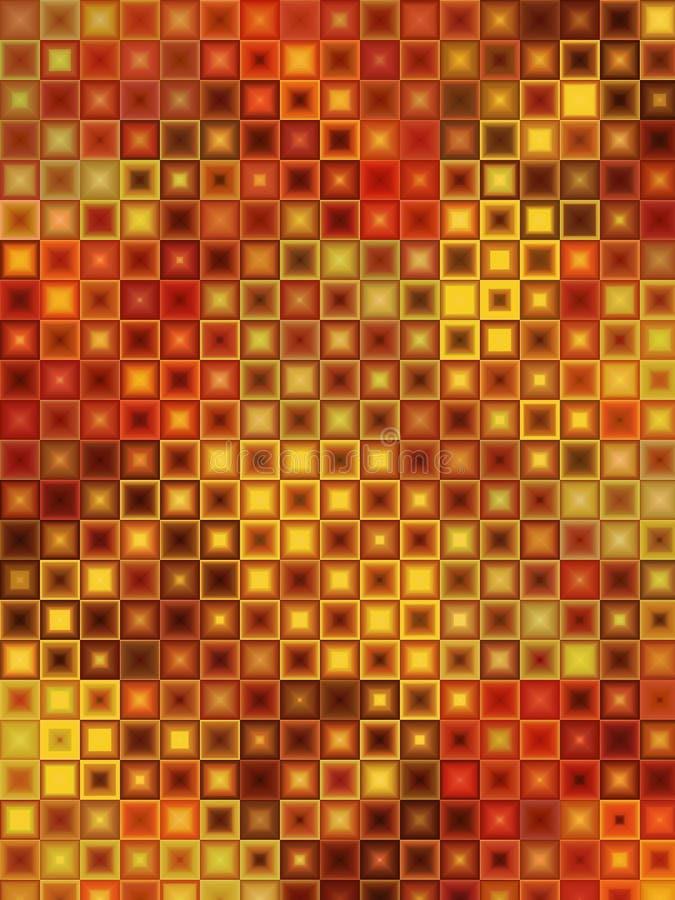 röd tegelplattayellow för brun mosaik arkivbild