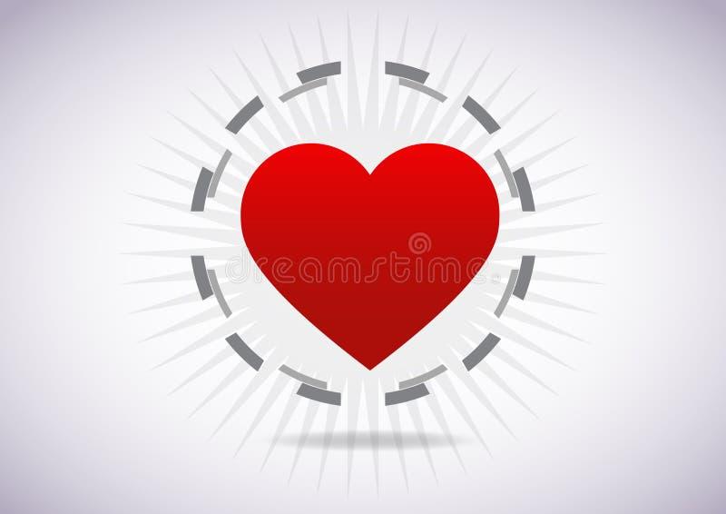 Röd teknologi för hjärtaabstrakt begreppblått med dollarvektorbakgrund royaltyfri illustrationer