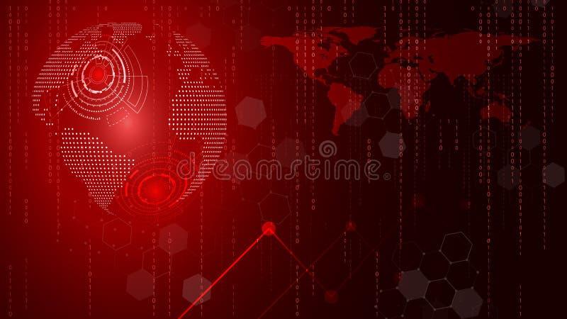 Röd teknologicirkel och datavetenskapabstrakt begreppbakgrund Aff?r och anslutning Futuristiskt och bransch 4 Uttrycka av r?tt f? stock illustrationer