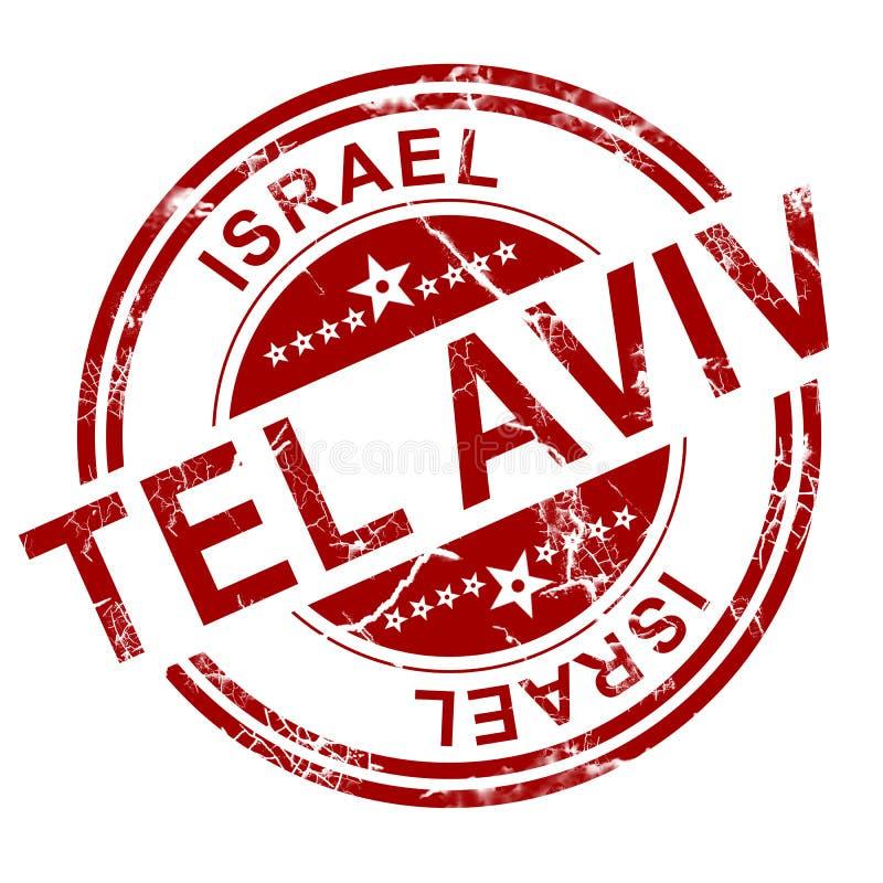 Röd Tel Aviv stämpel stock illustrationer