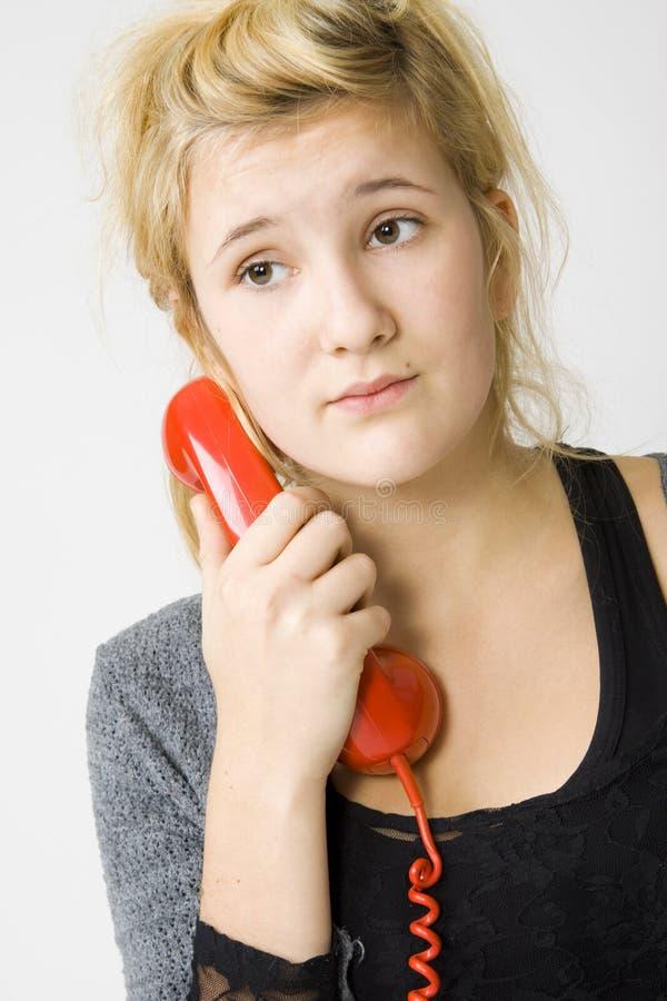 röd telefon arkivbilder