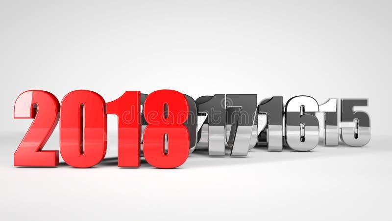 röd text 3d för text 2018 royaltyfri illustrationer