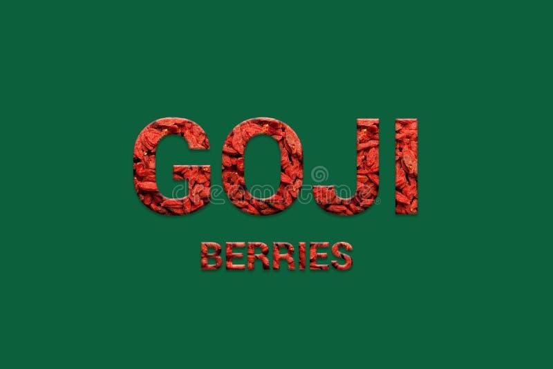 Röd text för Goji bärtextur Strikt vegetarian, vegetarisk toppen mat och detoxmat royaltyfri illustrationer