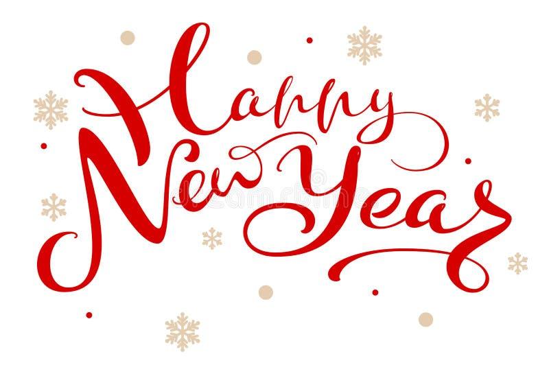 Röd textinskrift för lyckligt nytt år för hälsningkort vektor illustrationer
