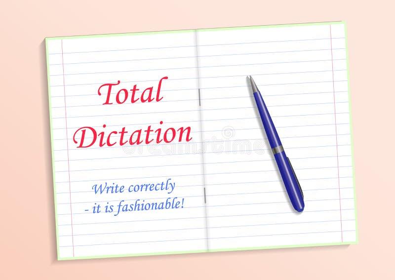 Röd textslutsummadiktamen, skriver grammatically det s-innegrej Anteckningsbok och penna på tabellen också vektor för coreldrawil stock illustrationer