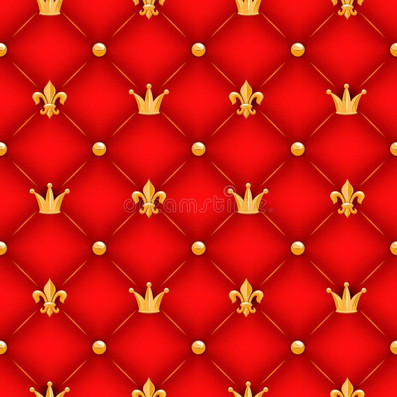 Röd textur med kronor, liljor och knappar stock illustrationer