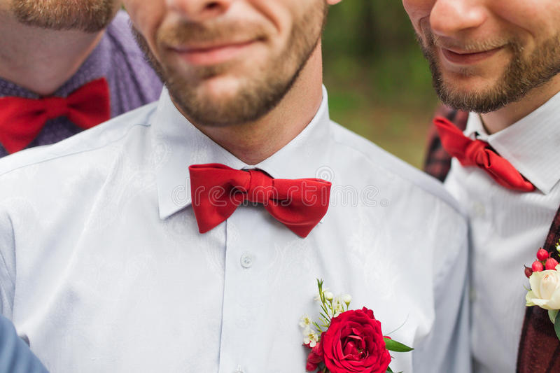 röd tie för bow arkivfoto