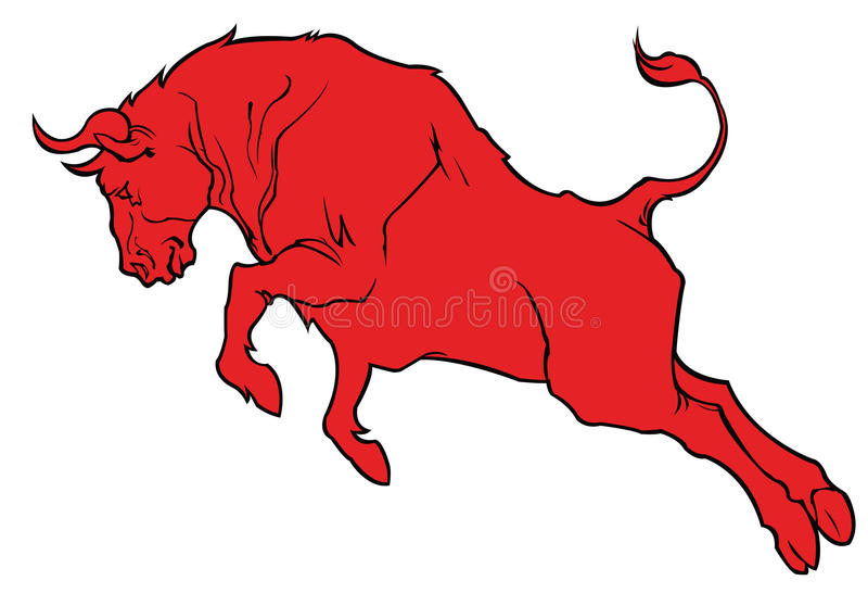 Röd tjur royaltyfri illustrationer